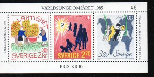 Sweden Sc 1553 1985 Intl Youth Year stamp sheet mint NH