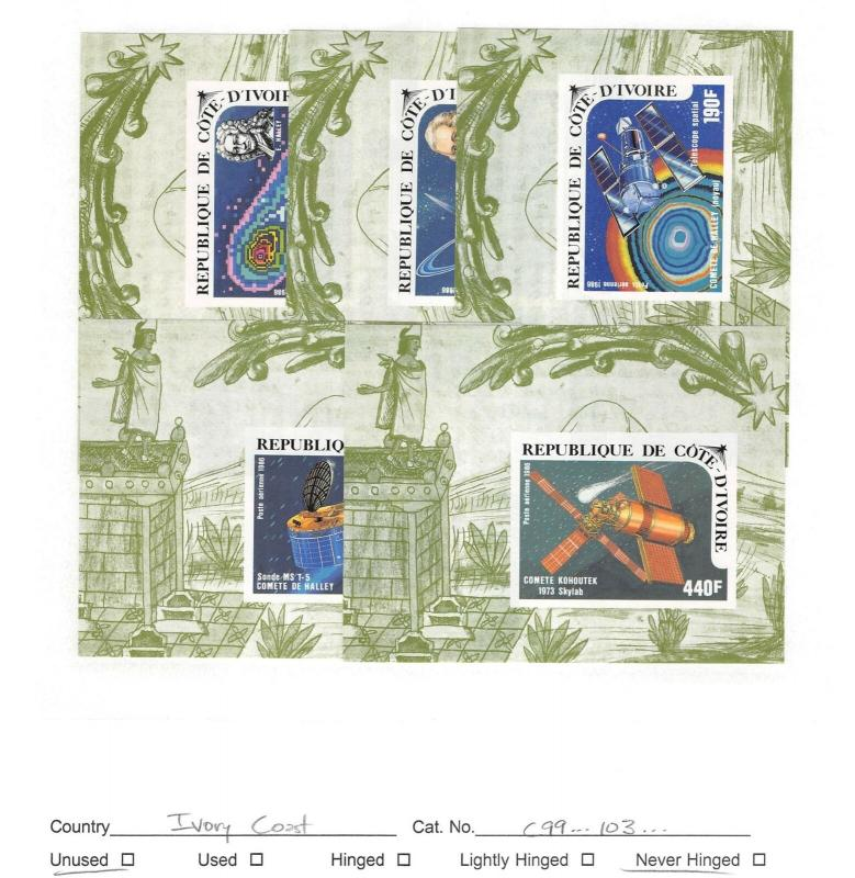 Lot of 5 Ivory Coast MNH Mint Never Hinged Stamps Scott # C99 - C103 #140365 X