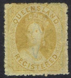 QUEENSLAND 1860 QV CHALON (6D) REGISTERED WMK SMALL STAR