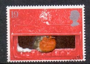 Great Britain 1995 used Christmas 19p  robin  pillar box   #