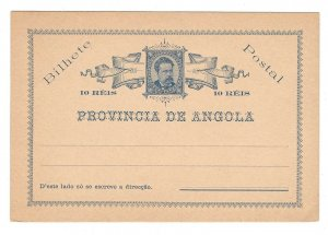 Portugese Angola HG1 Postal Stationery Card King Luis 10 R Unused