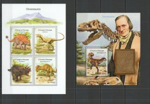 ST1662 2014 S. TOME & PRINCIPE DINOSAURS FAUNA ANIMALS KB+BL MNH STAMPS