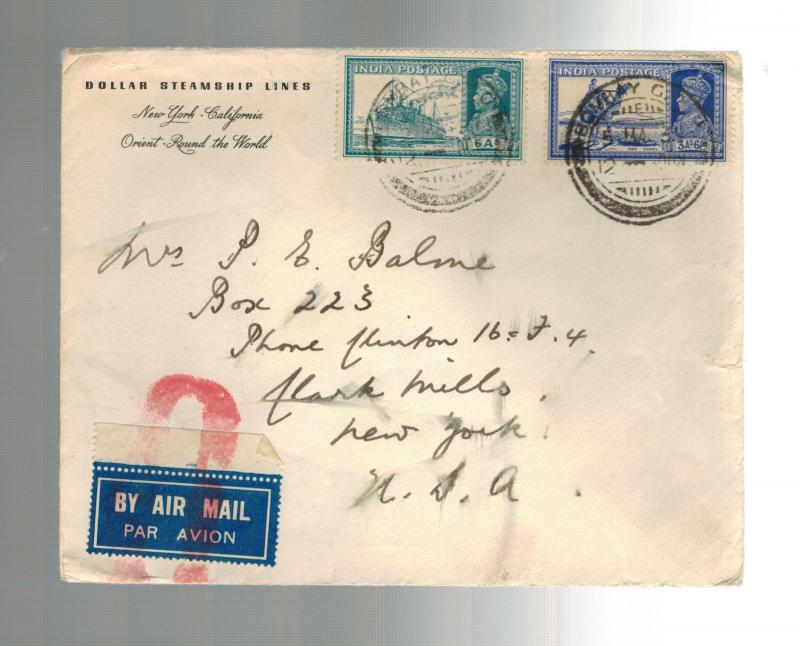 1930s Bombay India cover  to USA Dollar Steamship Lines