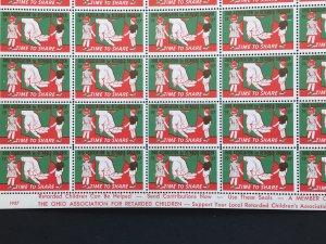 1957 Ohio Association for Retarded Children Label Cinderella Stamp Full Sheet