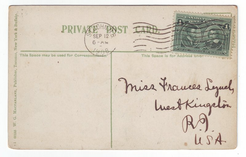 Z618 1908 old st john n.b. canada stamp view kids.geese to west kingston R.I.