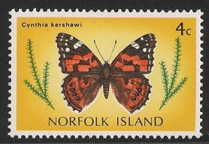 Norfolk Island #204 (SG #182) VF MNH - 1976 4c Butterfly