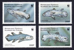 Comoro Is. WWF Coelacanth 4v SC#833 a-d MI#1261-1264