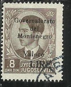 MONTENEGRO 1942 SOPRASTAMPA NERA BLACK OVERPRINTED VALORE LIRE 8 D USATO USED...