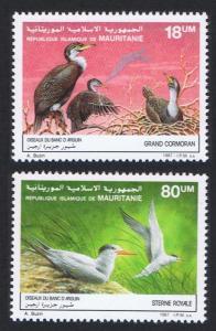 Mauritania Birds Cormorants Terns 2v issue 1988 SG#899-900 SC#634-635