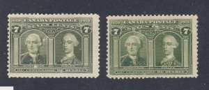 2x Canada  1908 Quebec Stamps #100-7c MNG Fine  Guide Value = $160.00