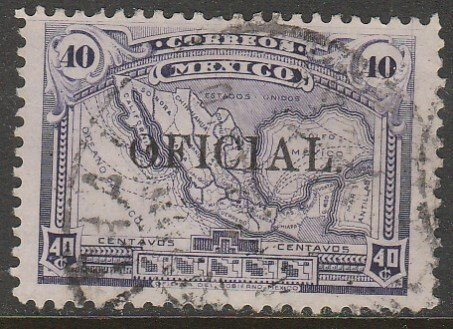MEXICO O153, 40¢ OFFICIAL. Map of Mexico. Used. VF. (1357)