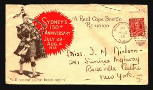 Canada 1935 Sydney's 150th Ann Cacheted Cover / Creasing / Fold - Z15377