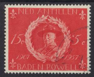 Netherlands Antilles #B30  used  1957  Baden Powell  15 c