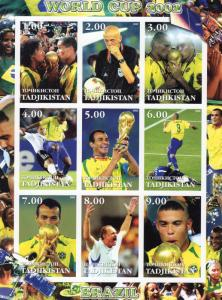 Tadjikistan 2002 WORLD CUP BRAZIL CHAMPION/SCOLARI Sheetlet (9) IMPERFORATED MNH