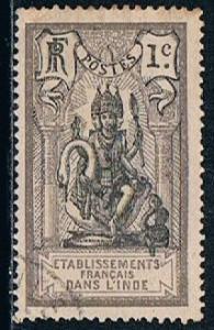 French India 25, 1c Brahma, used, VF