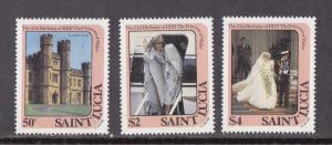 St. Lucia # 591-593, Royal Wedding, Princess Diana, Mint NH