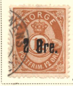 Norway Sc 46 1888 2 ore on 12 ore orange brown Post Horn stamp used