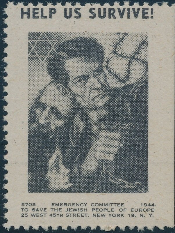 Stamp Label USA 1944 WWII Anti Nazi Arthur Szyk Save the Jews Emergency MNH