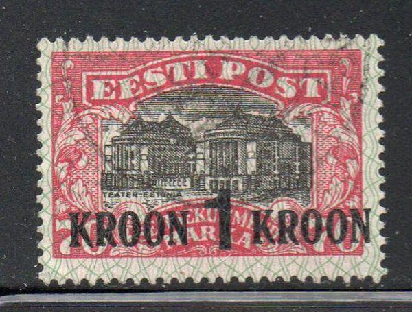 Estonia Sc 105 1930 1 kroon ovpt on 70 m National Theatre stamp used