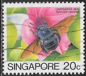 Singapore 456a Used - Insect - Blue Carpenter Bee (Xylocopa caerulea)