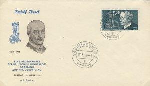 SARRE / SAARGEBIET - 1958 Mi.432 12fr Rudolf Diesel FDC - (- F . D . C -)