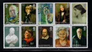 Great Britain Sc 2393a 2006 Portrait Gallery stamp block of 10 mint  NH