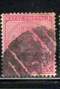 NATAL #67  1884  1p        QUEEN VICTORIA  F-VF  USED    j
