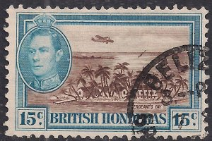 British Honduras 1938 - 47 KGV1 15cts Sergeants Cay SG 156 ( E1379 )