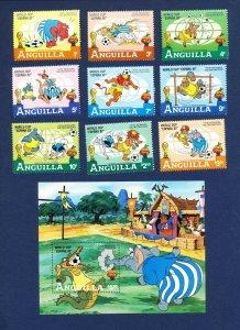 ANGUILLA - # 492-501 - VFMNH set & S/S - World Cup Soccer, Spain 1982