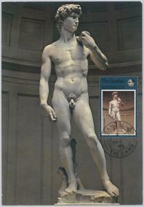 54311 - GAMBIA - POSTAL HISTORY: MAXIMUM CARD - 1975  RELIGION  art MICHELANGELO