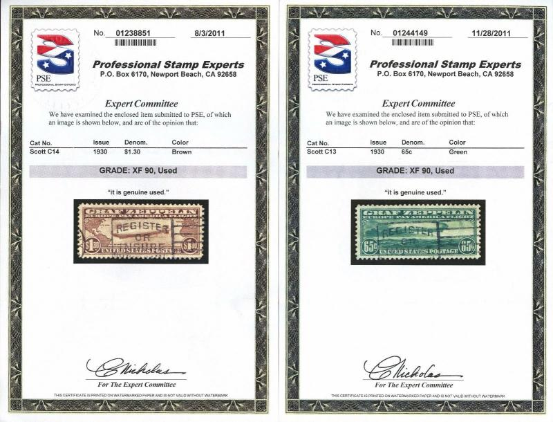 #C13-C15 COMPLETE SET XF USED ALL W/ PF & PSE CERTS GRADED 90 WLM4260