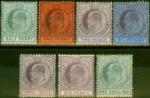 Lagos 1904-05 Set of 7 to 1s SG54-60 Fine Very Lightly Mtd Mint