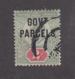Great Britain SG O75 used 1902 2p GOV't PARCELS ovpt on KEVII