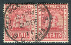 BRITISH GUIANA; 1911 early QV issue fine used 2c. Postmark Pair