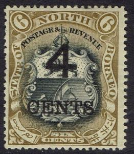 NORTH BORNEO 1899 LARGE 4C OVERPRINTED ARMS 6C PERF 14.5- 15