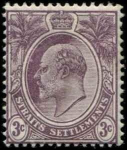 Straits Settlements SC# 106 Edward VII 3c wmk 2 MInt Hinged