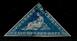 SOUTH AFRICA - Cape of Good Hope SG6a, 4d blue, FINE USED. Cat £90. ON PIECE