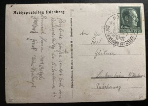 1936 Nuremberg Germany RPPC real picture Postcard Cover Waffen SS Lager Camp