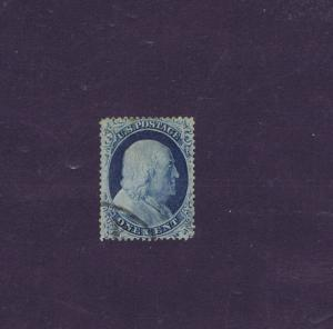 SCOTT# 23 USED 1 CENT FRANKLIN BLUE EXTRA FINE APPEARANCE, 1857.