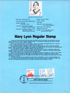 US SP712 Mary Lyon 2169 Souvenir Page FDC