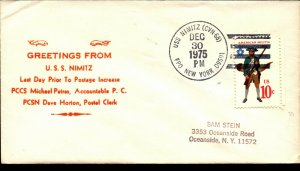 USS NIMITZ FPO 1975 US Naval Cachet Cover Pre Postage Increase Greetings F