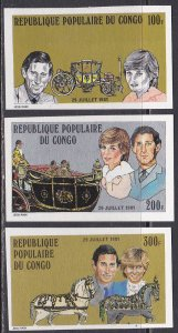 Congo People's Republic Sc #604-606 MNH Imperforate