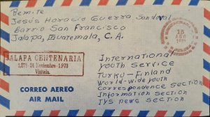 A) 1973, GUATEMALA, FROM JALAPA TO FINLAND, AIRMAIL, XF