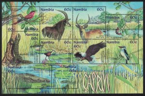 Namibia Birds Wildlife of the Caprivi Strip 10v Sheetlet SG#808-817 MI#Block 44