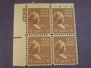 U.S.# 805-MINT/NEVER HINGED---UL- PLATE # BLOCK 4-PREXIE SERIES-1938(#B)