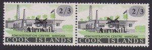 COOK IS 1966 Airmail 2/3d pair - variety MISSING STOP above first i MNH.....B107