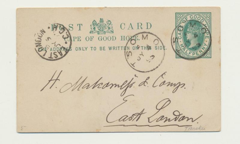 CAPE OF GOOD HOPE 1895 TSOMO CDS ON ½d CARD TO EAST LONDON
