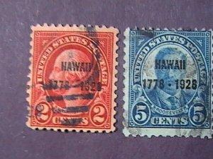 U.S.# 647-648-USED--COMPLETE SET----HAWAII OVERPRINT---1928