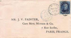 U. S., Scott #179 Used on 1879 Cover from New York City to Paris, France