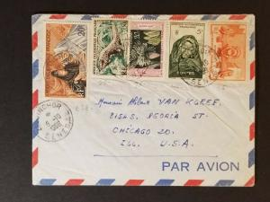 1959 Ziguinchor Senegal to Chicago Illinois USA Multi Franking Air Mail Cover